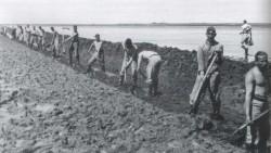 Handarbeit war beim Bau des Kooges notwendig und beschäftigungspolitisch gewollt