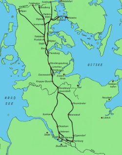 Der Ochsenweg in den Herzogtümern Schleswig und Holstein (Karte: T. Kühnel)
