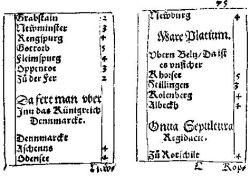 """Auszug aus Jörg Gail, """"Ein neuwes nüttzliches Raissbüchlein"""" (Augsburg 1563), dem ersten deutschen gedruckten Reiseführer, der das gesamte europäische Fernstraßennetz erfaßte. Das Buch besitzt eine Größe von 7,5 x 10,0 cm, so daß es leicht bei der Reise mitgeführt werden konnte. Es ist weitgehend ein reines Itinerar, das die Stationen der Straßen mit einigen knappen Zusatzinformationen (linke Spalte) und die Entfernungen in Meilen (rechte Spalte) enthält. Eine Meile entspricht ungefähr 7,5 km. Hier ist die Route von Hamburg über den Ochsenweg nach Årøsund (""""Zu der Fer""""), dem Fährort nach Dänemark nordwestlich von Hadersleben, verzeichnet."""