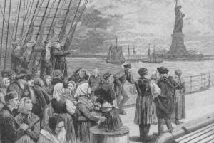 """Auswanderer in """"typischer Kleidung"""" beim Erreichen New Yorks. Eine Illustration aus dem """"Hausschatz"""" von 1887"""