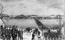 Übergang der Preußen über die Schlei bei Arnis am 6.2.1864. Lithographie von G. Lorenzen