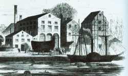 """Der """"Brandtaucher"""" wird am 18.Dezember 1850 aus der Maschinenfabrik von Schweffel & Howaldt in Kiel auf der Rosenwiese am Eisenbahndamm zu Wasser gebracht"""