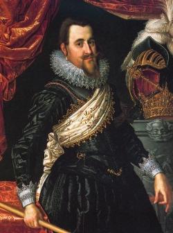 Christian IV. in Siegerpose. Das Bild von Pieter Isaacsz von 1625 soll an den Sieg Christians von Kalmar über die Schweden 1611 erinnern