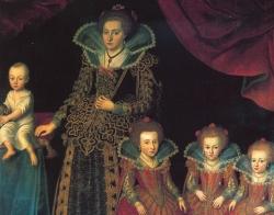 Kirsten Munk mit fünf ihrer zwölf Kinder. Ausschnitt aus einem Gemälde von Jacob van Doordt, etwa 1623
