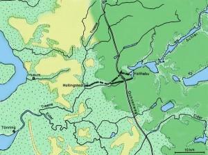 Die Niederungen von Eider und Treene machten das Land für größere Heeresverbände unpassierbar, so daß es reichte, zwischen Hollingstedt und Schlei eine Landenge von 13 Kilometern durch das Danewerk zu sperren, um das dänische Gebiet wirksam zu schützen.