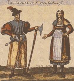 Trachten aus Dithmarschen auf einem kolorierten Kupferstich von Braun und Hogenberg