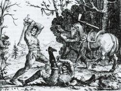 """Bauernrache - Szenen aus dem Soldatenleben. Auch wenn das Bild von Hans Ulrich Franck von 1643 nicht aus Schleswig und Holstein stammt, illustriert es doch die auch hier verbreitete Verbitterung der Bauern gegen die Söldnerheere, die im Dreißigjährigen Krieg """"aus dem Land lebten"""""""