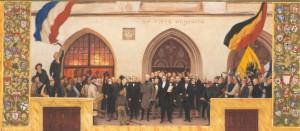 Proklamation der Provisorischen Regierung - wie sie sich der Maler Hans Olde Anfang des 20. Jahrhunderts vorgestellt hat