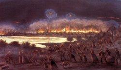Die Lithographie von P.J. du Ferrang: Flucht der Bürger aus dem brennenden Friedrichstadt am Abend des 4. Oktober 1850
