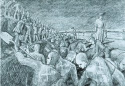 """Die Arbeiten am einem Panzergraben des """"Friesenwalls"""" hat der KZ-Häftling H.P. Sørensen mit dieser Zeichnung festgehalten"""