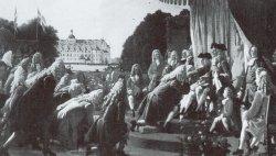 Die Huldigung Königs Friedrich IV. – ein Bild von 1860. Das historische Ereignis von 1721 fand jedoch nicht vor, sondern im Schloß Gottorf statt