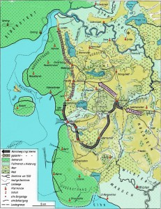 Plan der Schlacht bei Hemmingstedt. Wenn Sie diesen Plan in ganzer Größe sehen wollen, genügt ein Mausklick auf den Plan. Es öffnet sich dann ein neues Fenster mit dem detaillierten Plan der Schlacht von Hemmingstedt.