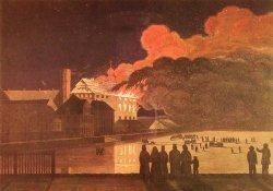 Zeitgenössische Darstellung des Brandes des Kieler Schlosses in der Nacht vom 15. Auf den 16.3.1838