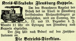 Sonderfahrt 1886. Anzeige aus dem Kreisblatt Flensburg.