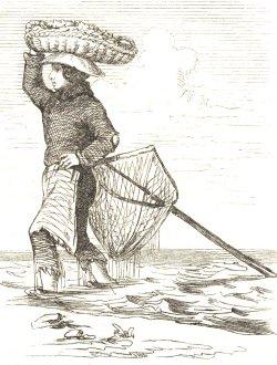 """""""Büsumer Krabbenfängerin"""" auf einem Holzstich von 1860"""
