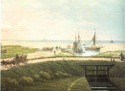 Wöhrden in Dithmarschen mit seinem für die Westküste typischen Sielhafen um 1850 auf einer farbigen Lithographie