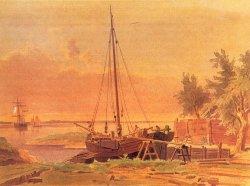 Aquarell von Wilhelm Heuer: Schiffswerft bei Flottbek an der Elbe um 1860. Zu dieser Zeit gab es entlang der Elbe und der Westküste noch knapp 20 kleine Holzschiffwerften, an der Ostseeküste acht