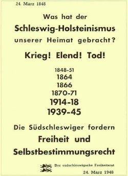 Wahlplakat 1948: im Norden gab es starke Tendenzen, den landesteil Schleswig an Dänemark anzuschließen
