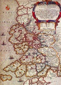 Die Utlande um 1240, wie sie sich der Kartograph Johannes Mejer 1652 vorgestellt hat. Die Karte gibt nur eine sehr ungefähre Vorstellung des Zustandes vor der ersten großen Mandränke