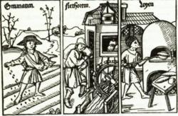 Bauer, Müller und Bäcker – Das Eindruckblatt vom Ende des 15. Jahrhunderts zeigt eindringlich, das die Müllerei das einzige Gewerbe war, das seit dem Mittelalter über eine Maschine verfügte