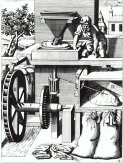 """Querschnitt durch eine oberschlächtige Wassermühle aus Böcklers """"Schauplatz der mechanischen Künste"""" von 1661"""