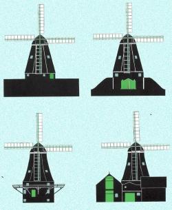"""Die vier Grundtypen: der flach auf dem Land stehende """"Erdholländer""""; der Steert des """"Keller-"""" oder """"Bergholländer"""" wird von einem künstlich ausgeworfenen Hügel aus bedient, beim """"Gallerieholländer"""" passiert das von einen auch """"Zwickstell"""" genannten umlaufenden Balkon aus und beim """"Dach-"""" oder """"Unterbauten Holländer"""" passiert dasselbe von den Dächern aus"""