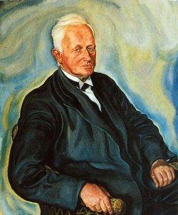 Pastor Johannes Schmidt-Wodder auf einem Ölgemälde von A. Paul Weber. Er wandte sich früh gegen den deutschen Zwangskurs. Nach der Abstimmung 1920 organisierte Schmidt-Wodder den Aufbau der deutschen Volksgruppe in Nordschleswig.