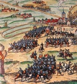 Berittene Söldner eroberten 1559 Dithmarschen. Ausschnitt aus einem Kupferstich über die Eroberung Meldorfs von 1589