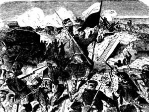 Preußische Soldaten beim Sturm auf die Düppler Schanze