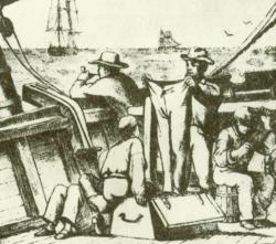 """Holzschnitt von 1879 mit dem Titel """"Kistenvergnügen"""""""