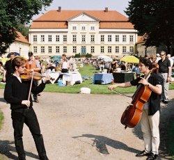 """Sommerliches Picknick vor Gut Emkendorf mit """"zufällig"""" im Vordergrund stehenden Musikern"""