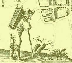 Ein Kiepenmann mit Ware auf dem Weg in die Stadt. Detail aus einer Karte des Husumer Kartographen Johann Meyer
