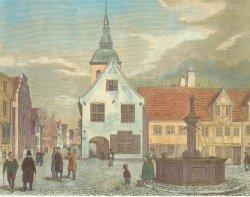 Der Flensburger Schrangen am Nordermarkt von 1599. Auf dem Holzschnitt von I.J.Ley von 1862 ist er weiß gekalkt. Heute ist er wieder als Backsteinbau zu sehen