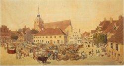 Die Lithographie von F.W. Otte nach einem Aquarell von Joh. Fr. Fritz von 1830 vom Flensburger Südermarkt gibt einanschauliche Bild davon, wie ein alter Markt aussah