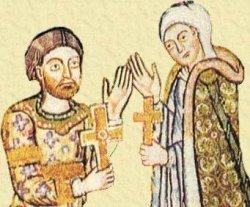 Heinrich der Löwe mit seiner zweiten Frau Mathilde. Ausschnitt aus dem Braunschweiger Evangeliar Heinrichs um 1170
