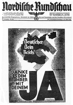 """Mit der """"neuen Landkarte"""" warb die 'Nordische Rundschau"""" am Sonnabend vor der Abstimmung für das """"Ja"""" zum """"Anschluß"""" Österreichs"""