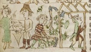 Herr übergibt Erbzinsrecht, der Wald wird gerodet und ein Haus gebaut – Darstellung aus dem Anfang des 14. Jahrhunderts