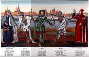 Der Totentanz aus dem Jahre 1463 mahnte in der Lübecker Marienkirche an die Folgen der Pest, bis das Werk 1942 bei der Bombardierung der Hansestadt verlorenging