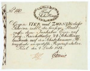 Kieler Notgeld aus dem Dezember 1812. Schon bevor der Staatsbankrott am 5. Januar 1813 amtlich war, lief ohne Ersatzgeld in den Herzogtümern nichts mehr